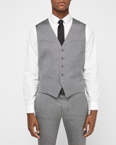 Express Gray Wool Blend Oxford Suit Vest