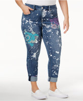 Melissa McCarthy Trendy Plus Size Paint Splatter Skinny Jeans