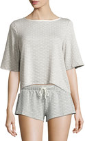 Eberjey Flynn Dotted Half-Sleeve Top, Medium Gray