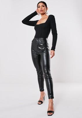 Missguided Petite Black Extreme Rib Square Neck Bodysuit