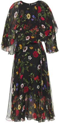 Oscar de la Renta Layered Floral-print Silk-chiffon Midi Dress