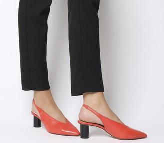 Office Mischief Pointed Heels Red Leather Black Spray Heel