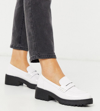 Co Wren Wide Fit chunky flat loafers in white