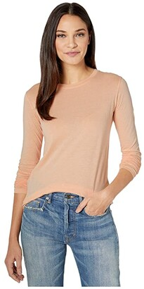 Vince Essential Long Sleeve Crew (Peach) Women's Clothing