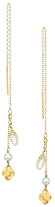 Chan Luu 18K Goldplated, Quartz & 3-3.5MM Grey Pearl Threader Earrings