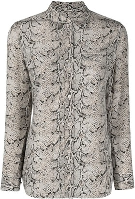 Equipment Snakeskin-Effect Silk Shirt