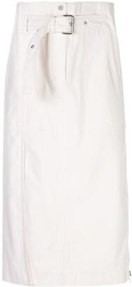 3.1 Phillip Lim Belted Denim Midi Skirt