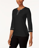 Karen Scott Cotton Studded T-Shirt, Created for Macy's