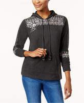 Style&Co. Style & Co Cotton Embroidered Hoodie Sweatshirt, Created for Macy's