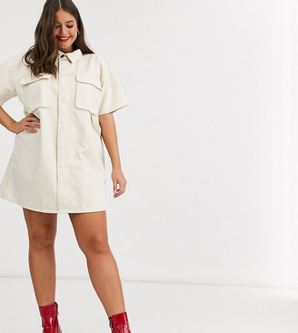 Asos DESIGN Curve denim boxy shirt dress in ecru