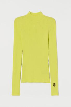 H&M Ribbed Mock-turtleneck Sweater - Yellow