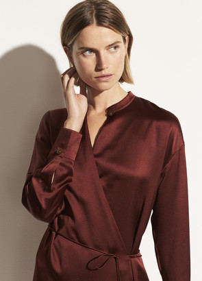 Vince Satin Long Sleeve Wrap Dress