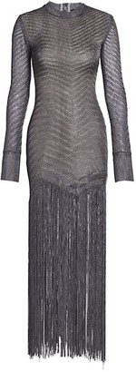 Herve Leger Chevron Fringe Metallic Knit Gown