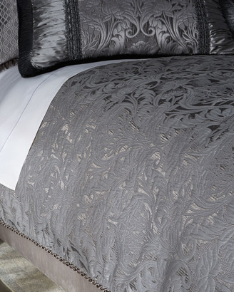 Dian Austin Couture Home King Aviana Damask Plisse Duvet Cover