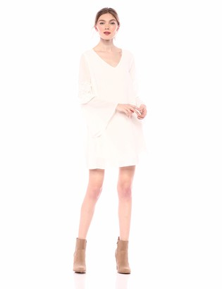 Cover Girl Women's Long Bell Sleeve Tie Front Tunic Dress Casual Mesh lace
