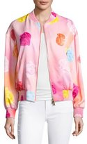 Moschino Fantasy Floral-Print Bomber Jacket, Pink