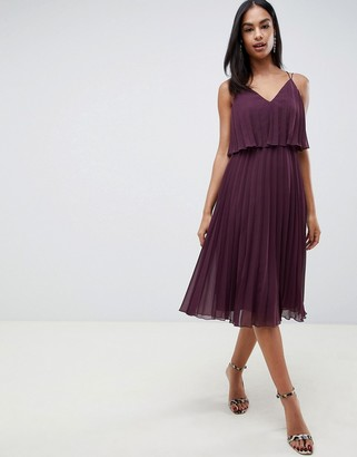 Asos Design DESIGN pleated crop top midi dress-Purple