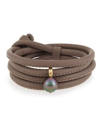 Mizuki Convertible Leather Wrap Bracelet/Choker with Pearl Charm, Taupe