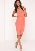 Missguided Bandeau Tie Waist Midi Dress Pink