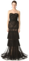 Pleated Mesh Lace Gown