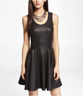 Express Crackle Coated Ponte Knit Skater Dress