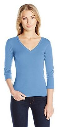 Three Dots Women's 3/4 Sleeve V Neck Tee