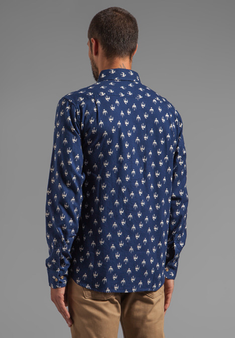 Obey Early Bird Flannel Button Down with Bird Print