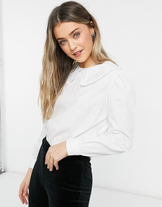 Pimkie cotton poplin collar detail shirt in white