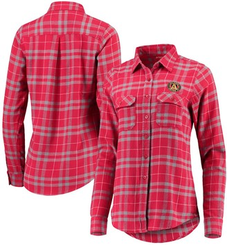 Antigua Women's Red/Gray Atlanta United FC Flannel Button-Down Shirt