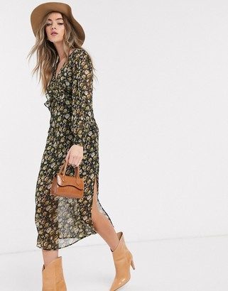 Topshop midi dress with frill detail in floral print