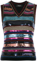 DSQUARED2 sleeveless sequin stripe top - women - Polyester/Viscose/Wool/Sequin - XS