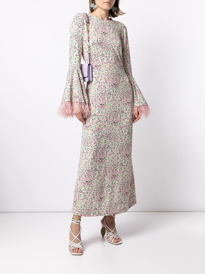 Thumbnail for your product : Bambah Floral-Print Feather-Trim Dress