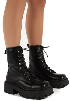 Public Desire Uk Leader Lace Up Chunky Sole Biker Boots
