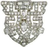 Kenneth Jay Lane Silver and Crystal Deco Pin
