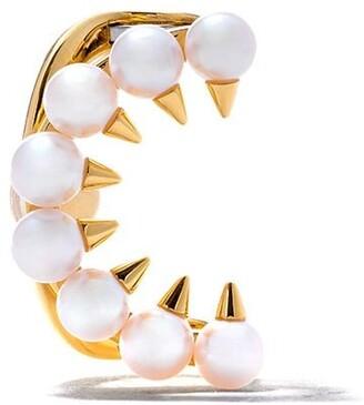 Tasaki 18kt yellow gold Danger Collection Line Akoya pearl ear clip