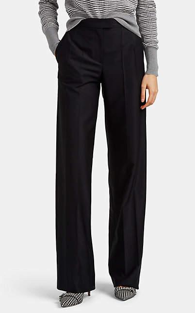 Giorgio Armani Women's Wool Faille Wide-Leg Trousers - Black
