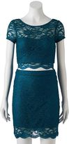 Speechless Juniors' Lace Crop Top & Skirt Set