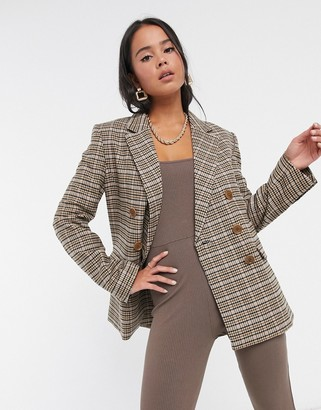 And other stories & check double-breasted blazer in beige