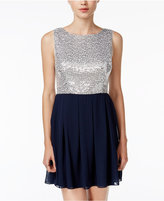 B. Darlin Juniors' Sequined Colorblocked Fit & Flare Dress