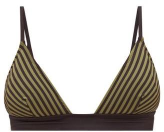 Solid & Striped Morgan Striped Triangular Bikini Top - Green Stripe