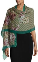 Gucci GG Blooms Voile Stole, Green/Brown
