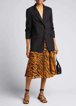 ADAM by Adam Lippes Tiger-Print Sunburst Pleated Midi Skirt