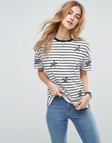Asos T-Shirt With Star Badges And Stripe In Longline Fit