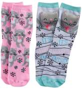 Pink Cookie Girls 4-16 2-pk. Holiday Plush Face & Patterned Crew Socks