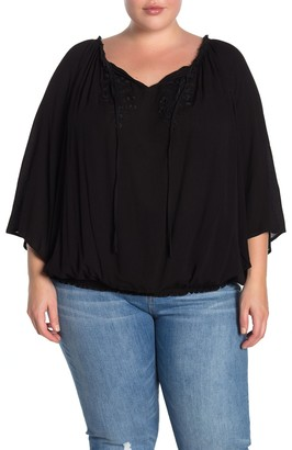 City Chic Floral Embroidered Peasant Top