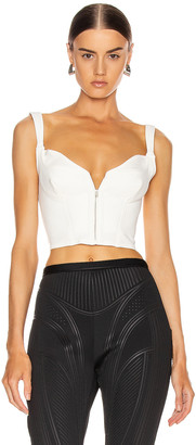 Thierry Mugler Zipper Bustier Top in White | FWRD