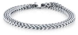 """He Rocks 4mm Double Wrap Franco Chain Stainless Steel Bracelet, 17"""""""