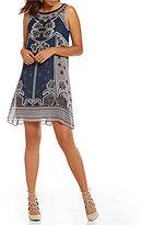 M.S.S.P. Crew Neck Sleeveless Printed Trapeze Dress