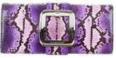Michael Kors Snakeskin Buckle-Accented Clutch