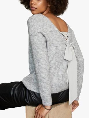 Mint Velvet Tie Back Jumper, Light Grey